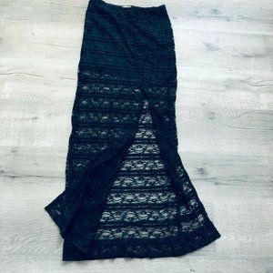 LA Hearts Black Long Skirt Crochet Slit Maxi Boho